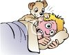 Puppy Waking His Owner by Chewing On His Ear clipart