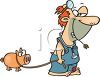 Hillbilly Veterinarian with a Pig clipart