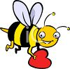 Bee Holding a Valentine clipart