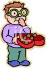 Boy with Glasses Eating Valentine Chocolates clipart