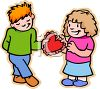 Shy Red Haired Boy Giving a Valentine to His Sweetheart clipart