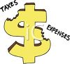 Dollar Sign Being Chewed Up By Taxes and Expenses clipart