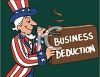 Uncle Sam Whittling Away at Business Deductions  clipart