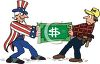 Builder Fighting Uncle Sam Over a Dollar clipart