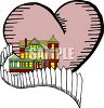 Two Story House with a Heart Depicting Home is Where the Heart Is Metaphor clipart