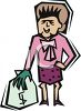Rich Lady with Money Bag clipart