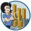 Rich Successful Business Woman with Piles of Money clipart