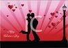 Silhouette of a Couple Kissing by a Streetlight on Valentine's Day clipart