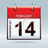 Calendar Page for Valentine's Day February 14th clipart