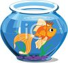 Goldfish Wearing a Crown in a Fish Bowl clipart