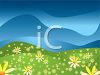 Field of Flowers with a Blue Sky clipart