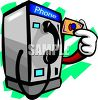 Cartoon of a Pay Phone Using a Pre-Paid Phone Card clipart