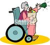 Handicapped Woman Paying for Her Groceries clipart