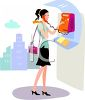 Young Woman Using a Payphone clipart