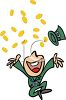 Happy Leprechaun Throwing Gold Coins in the Air clipart