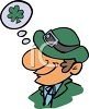 Leprechaun Daydreaming About Shamrocks clipart
