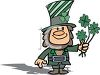Cute Little Leprechaun Holding a Shamrock Bouquet clipart