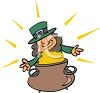Cute Little Leprechaun with a Pot of Gold clipart