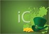 St Patrick's Day Background with a Leprechaun Hat and Gold Coins clipart