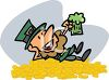 Leprechaun Drinking a Beer on a Pile of Gold clipart