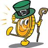Dancing Gold Coin Wearing a Shamrock Hat clipart