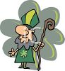 Cartoon of Saint Patrick Holding a Staff clipart