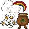Cartoon Pot of Gold at the End of the Rainbow with Daisies clipart
