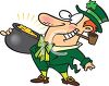 Happy Leprechaun Holding a Pot of Gold Smoking a Pipe clipart