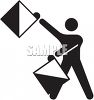 Silhouette of a Flagger clipart