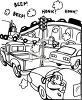 Black and White Cartoon of a Traffic Jam clipart