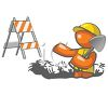 Orange Man Road Worker Digging Up the Street clipart