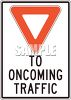 Yield to Oncoming Traffic Sign with a Red Triangle clipart