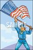 Civil War Soldier Waving the American Flag clipart