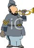 Cartoon of a Confederate Soldier Blowing a Bugle clipart