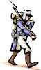 Civil War Soldier Walking with His Weapon clipart