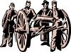 Civil War Soldiers Posed by a Cannon clipart