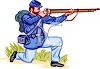Confederate Soldier Shooting His Rifle on One Knee clipart