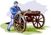 Civil War Soldier Using a Gatling Gun clipart