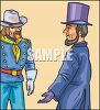 Civil War Colonel Meeting Abraham Lincoln clipart