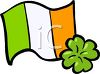 Flag of Ireland and a Four Leaf clover clipart