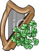 Shamrocks and a Gold Harp clipart