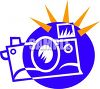 Icon of a Camera with the Flash Going Off clipart