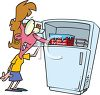 Woman Having a Hot Flash Sticking Her Head in the Freezer clipart