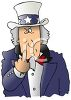 Uncle Sam Flipping the Bird Gesture clipart