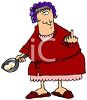 Fat Woman in Her Bathrobe Giving the Finger clipart