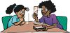 Ethnic Woman Using Flash Cards to Help Her Daughter Learn clipart