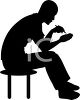 Man Using a PDA in Silhouette clipart