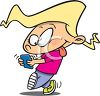 Cartoon of a Little Girl Sending a Text Message on Her Cellphone clipart
