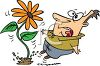 Cartoon of a Man Startled by a Growing Flower clipart