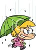 Cartoon of a Little Girl Walking in the Rain with an Umbrella clipart